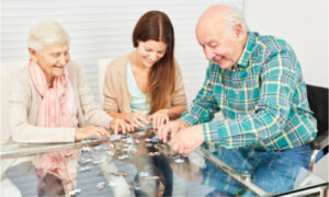 spending time with elderly couple