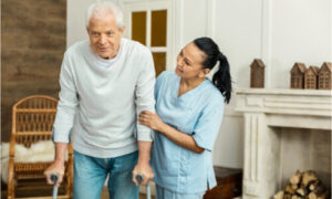 The older man considers getting a senior home health care service.