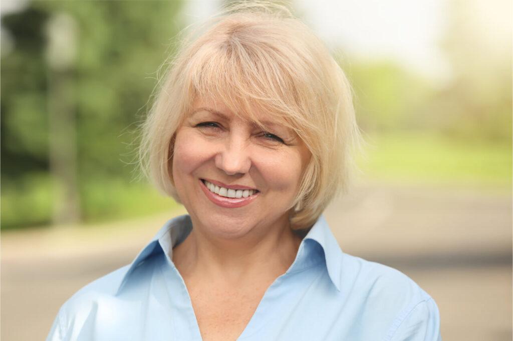 senior woman with dentures